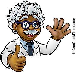 pouces, signe, dessin animé, haut, scientifique, caractère