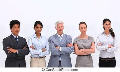 pouces-vers haut, équipe, business, donner, sérieux