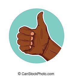 pouces-vers haut, donner, main, américain, closeup, africaine