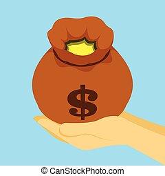 Pouch sack full of money