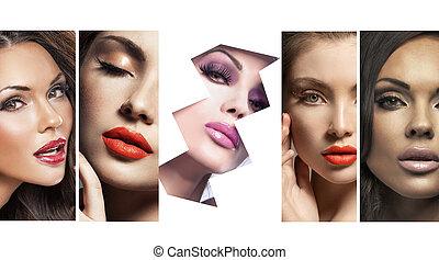 poucos, mulheres, múltiplo, bonito, retrato