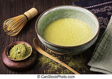 poudre, amende, vert, matcha, thé