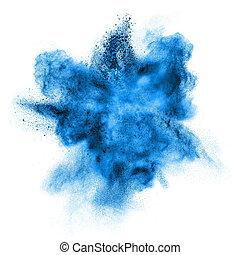 poudre bleue, explosion, isolé, blanc