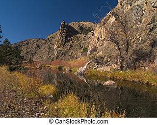 November along the banks of Colorado's Poudre River Canyon