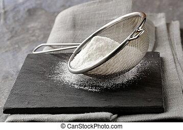 poudre, passoire, métal, sucre