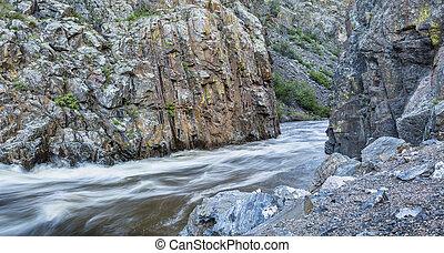 Cache la Poudre River at Little Narrows near Fort Collins, Colorado - springtime flow