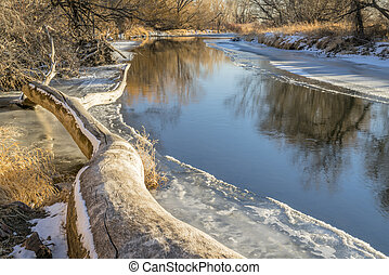 Cache la Poudre River at Timanth below Fort Collins, winter scenery with ice and snow