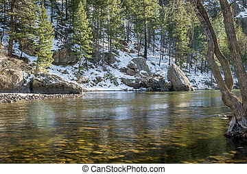 sunny day on the Cache la Poudre River above Fort Collins, Colorado - typical winter low flow at Picnic Rock