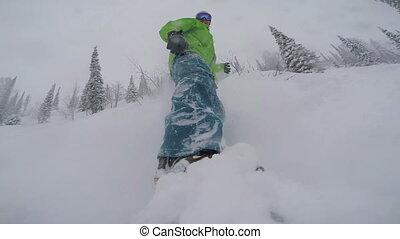 poudre, snowboard, neige, freeriding