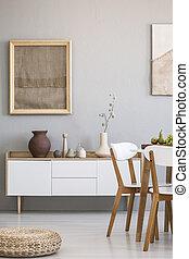 pouf, côté, bois, chaises, dans, clair, salle manger, intérieur, à, affiche, au-dessus, blanc, cupboard., vrai, photo