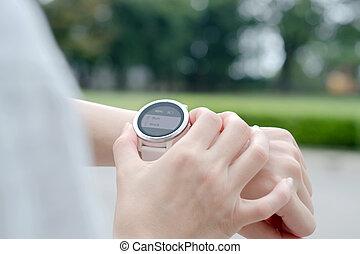 pouití, běh, manželka, bdít, venku