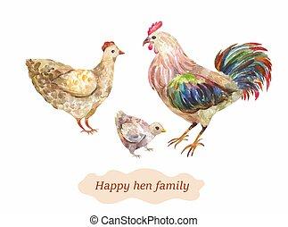 poule, family., conjugal, aquarelle, vecteur, illustrati, coq, chick., oiseau
