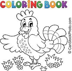 poule, livre coloration, heureux