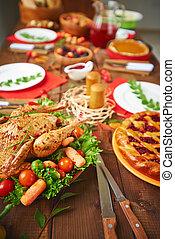 poulet, à, assaisonnement, et, légumes