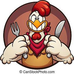 poulet, affamé