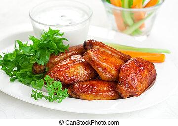 poulet, buffle, ailes