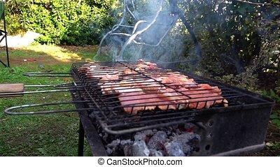 poulet, charbon, barbecue, délicieux, brûler