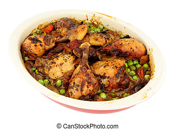 poulet, cocotte, dans, four, plat