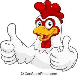 poulet, coq, caractère, coquelet, dessin animé