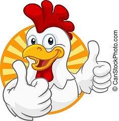 poulet, coquelet, dessin animé, coq, caractère