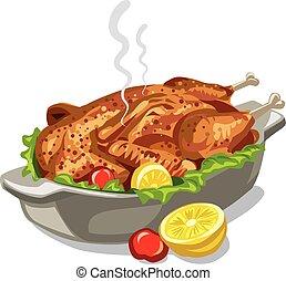 poulet, cuit, rôti