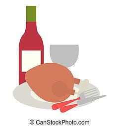 poulet, cutleries, viande, délicieux, vin