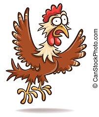 poulet, effrayé, dessin animé