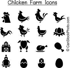poulet, ensemble, icône