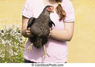 poulet, et, girl