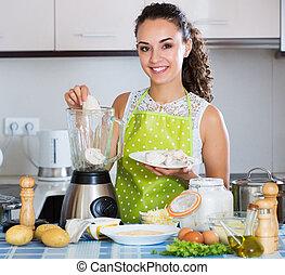 poulet, femme, préparer, pâté