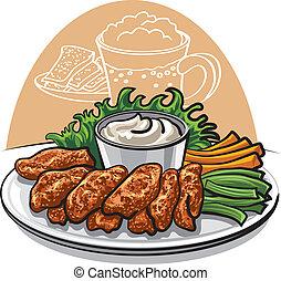 poulet, frit, ailes