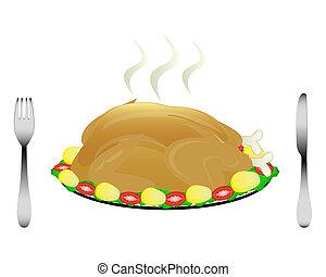 poulet, frit, coutellerie