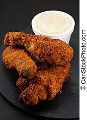 poulet, frit, méridional, morceaux