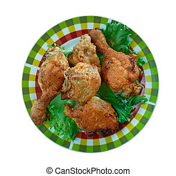 poulet, frit, méridional