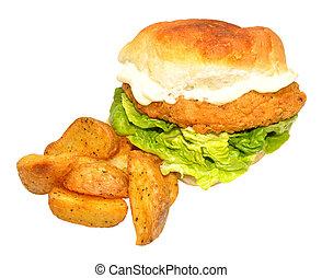 poulet, frit, méridional, sandwich