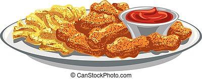 poulet, frit, pépites