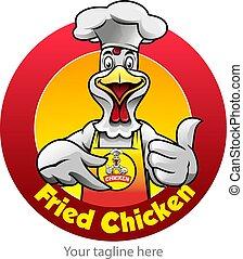 poulet, frit, symbole