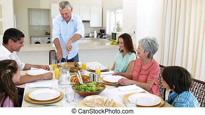 poulet, grand-père, vacarme, découpage