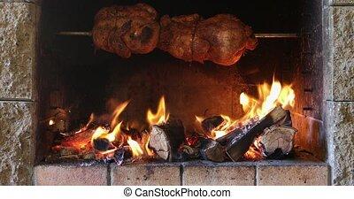 poulet, gril barbécue, torréfaction