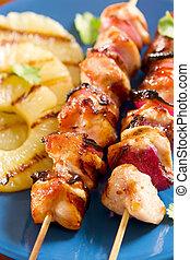 poulet grillé, à, ananas