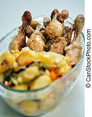 poulet grillé, baguettes