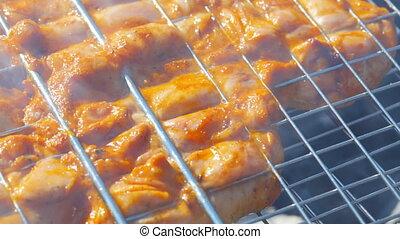 poulet grillé, coup, chariot, gril