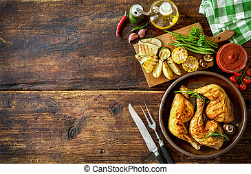 poulet grillé, jambes