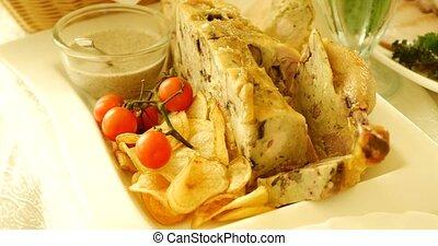 poulet grillé, légumes, filet