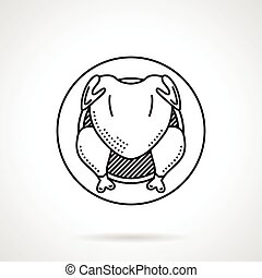 poulet grillé, noir, ligne, icône