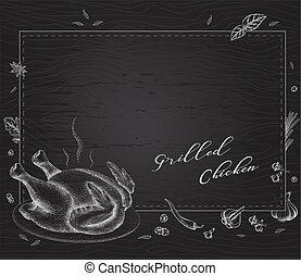 poulet grillé, plat, arrière-plan noir
