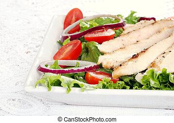 poulet grillé, salade