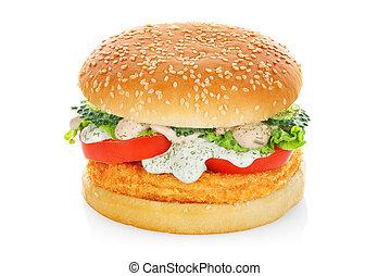 poulet, hamburger, isolé