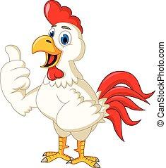 poulet, heureux, haut, dessin animé, pouce