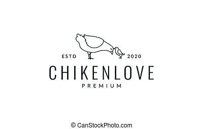 poulet, illustration, amour, logo, ligne, vecteur, poule, conception, famille